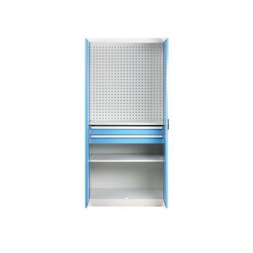 Szafa warsztatowa z perforowaną ścianką tylną, 2 półki, 2 szuflady