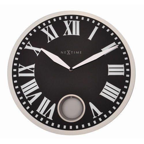 NeXtime - zegar ścienny Romana 43 cm - czarny, kolor czarny