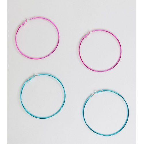 design pack of 2 90mm colour plate hoop earrings - multi marki Asos