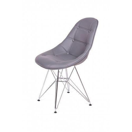 Krzesło eko silver grafitowy szary t26 - ekoskóra, podstawa metalowa chromowana marki King home