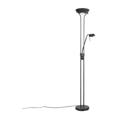 Lampa stojąca czarna z lampką do czytania, w tym led i ściemniacz - diva 2 marki Qazqa