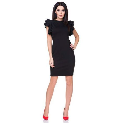 Sukienka Ołówkowa Mała Czarna z Falbankami na Ramionach, w 5 rozmiarach