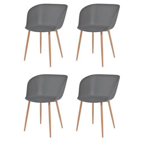 Komplet 4 krzeseł, szare, plastikowe siedziska i stalowe nogi, kolor szary