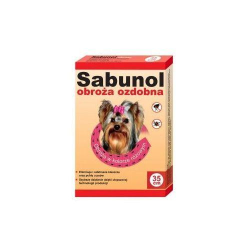 Sabunol obroża dla Yorka przeciw pchłom i kleszczom ozdobna różowa 35cm