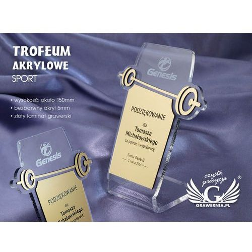 Grawernia.pl - grawerowanie i wycinanie laserem Trofeum akrylowe sport - model dta16 - wysokość 15 cm