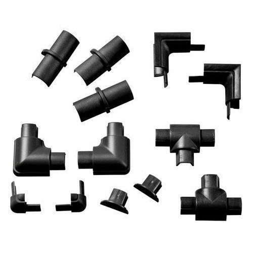 Akcesoria do listwy półokrągłej 16 x 8 mm czarne 13 szt. marki D-line