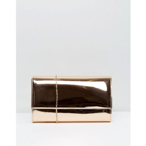 metallic flap clutch bag - gold marki Chi chi london