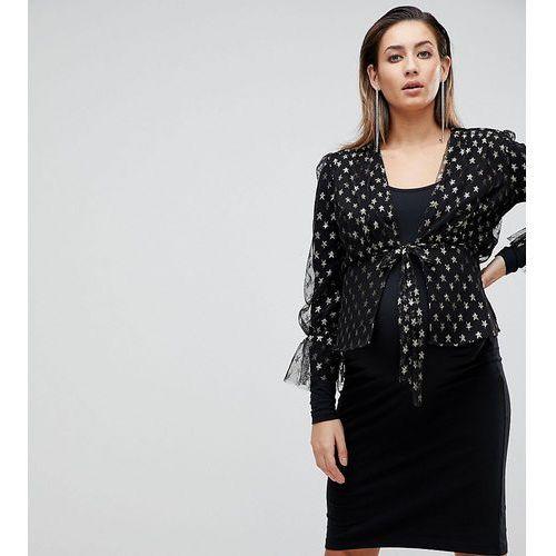 Queen bee maternity allover star print ruffle tea blouse - multi