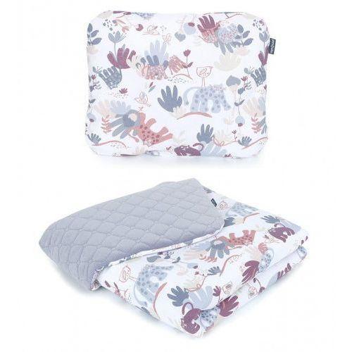 Komplet kocyk dla dzieci velvet pikowany 75x100 + poduszka - sawanna szary świt/ szary marki Mamo-tato