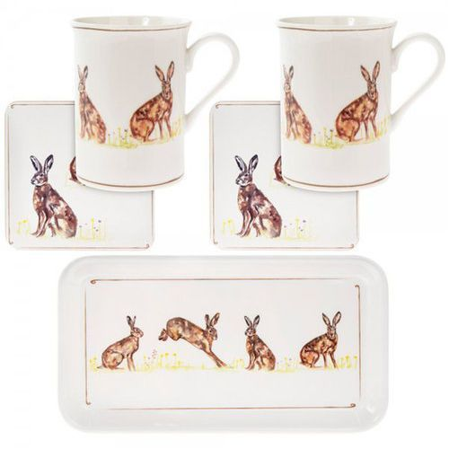 Kpl. 2 kubków z podstawkami na tacy - Hare