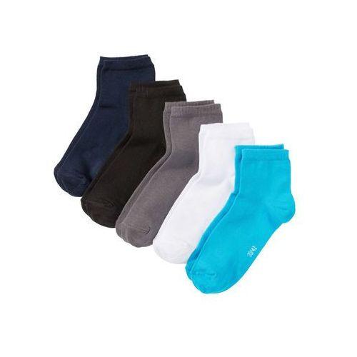 Krótkie skarpetki (5 par) bonprix niebieski + szary + czarny + biały + turkusowy, kolor niebieski