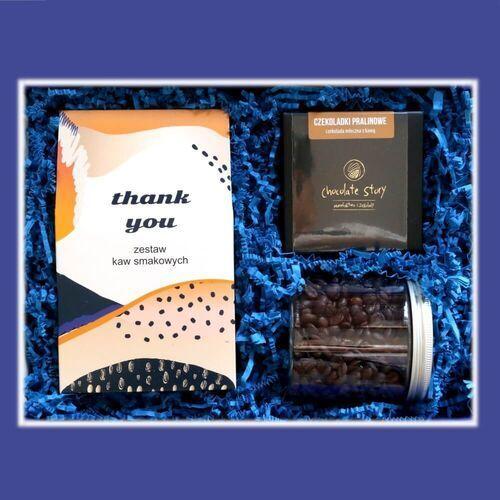 Zestaw prezentowy dla bliskiego elegancki thank you box. zestaw 10 mielonych kaw smakowych 10x10g, kawa ziarnista waniliowa 200g, wykwintne praliny kawowe w mini bombonierce. wyjątkowe podziękowanie. marki Cup&you cup and you