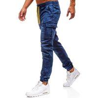 Spodnie jeansowe joggery męskie granatowe Denley Y263, kolor niebieski