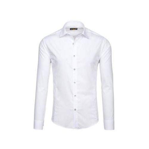Koszula męska elegancka z długim rękawem biała 1703, Bolf