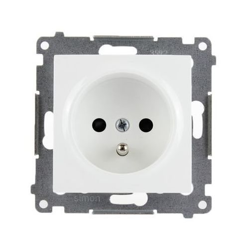 Kontakt-simon Kontakt simon 54 premium gniazdo wtyczkowe pojedyncze z uziemieniem z przesłonami torów prądowych do ramek premium (moduł) 16a 250v, zaciski śrubowe, biały dgz1z.01/11 (5902787823702)