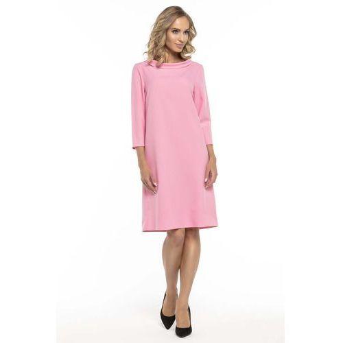 Trapezowa Różowa Sukienka z Kołnierzykiem JACKIE KENNEDY, w 6 rozmiarach