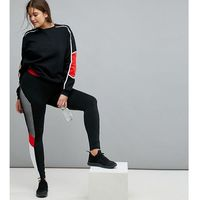 South Beach Plus Mesh Panel Legging In Black And Red - Multi