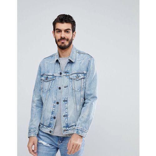 Levis Levi's denim trucker jacket rolled up dollar - blue