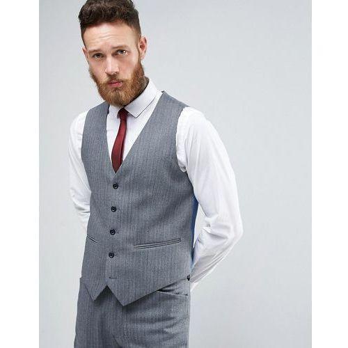 ASOS WEDDING Super Skinny Suit Waistcoat In Herringbone Blue Wool Blend - Blue