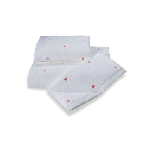 Zestaw podarunkowy ręczników micro love biały / różowe serduszka marki Soft cotton