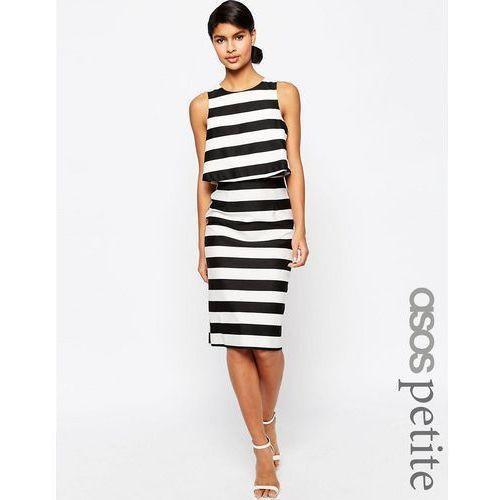 ASOS PETITE Structured Double Layer Pencil Dress in Stripe - Multi