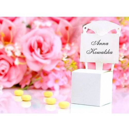 Pudełeczka dla gości krzesełka białe - 10 szt. marki Party deco