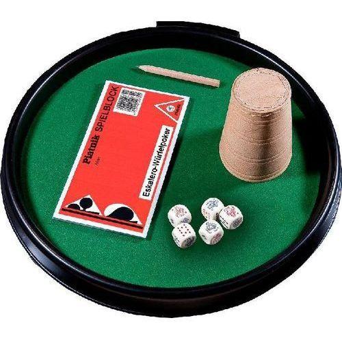 Piatnik Kości pokerowe z tacką kubkiem i bloczkiem do zapisu (9001890296758)