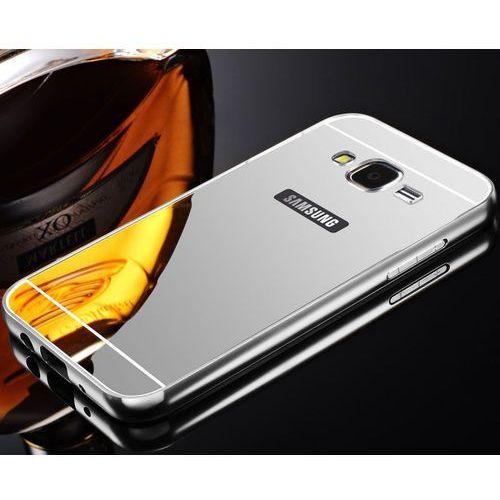 Mirror bumper metal case srebrny | etui dla samsung galaxy j1 - srebrny