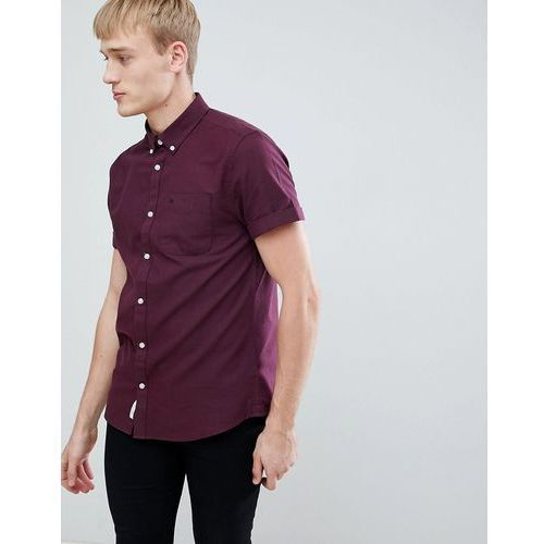 River island regular fit short sleeve oxford shirt in burgundy - red