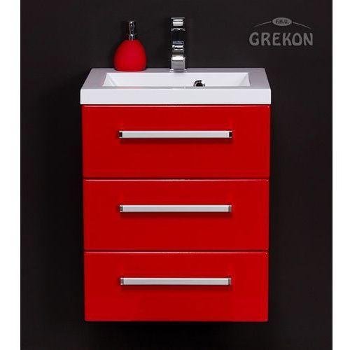 Czerwona szafka wisząca z umywalką 50/39/3 seria Fokus CZ, kolor czerwony