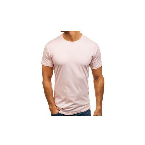 T-shirt męski bez nadruku różowy denley 181227 marki Breezy