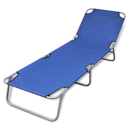 Vidaxl składany leżak z regulowanym oparciem, niebieski