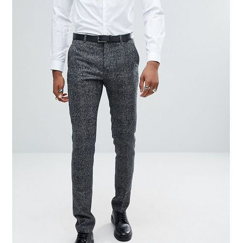 ASOS TALL Slim Suit Trousers In Moons Wool Rich Monochrome Check - Black
