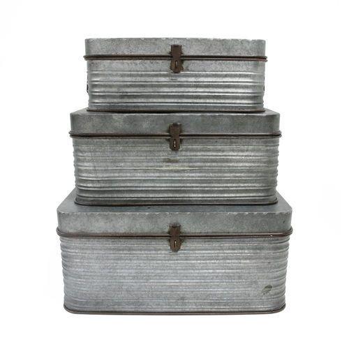 HK Living Zestaw 3 metalowych pudełek do przechowywania AOA9945