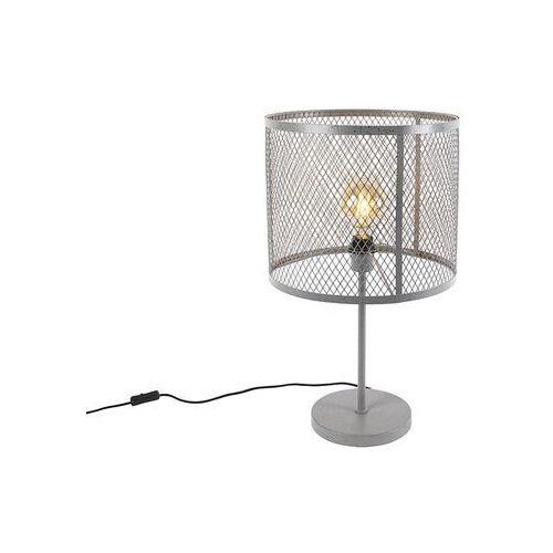 Przemysłowa okrągła lampa stołowa antyczne srebro - cage robusto marki Qazqa