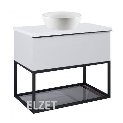 ELITA szafka Look 1S stone matt pod umywalkę nablatową + szklana półka + uchwyt czarny + blat 80 white 167595+167666+167516+166892, kolor czarny