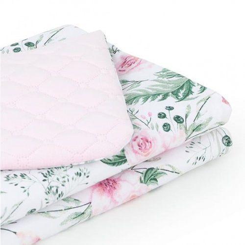 Kocyk dla niemowląt i dzieci velvet pikowany dwustronny 75x100 - Różany Ogród - Jasny Róż