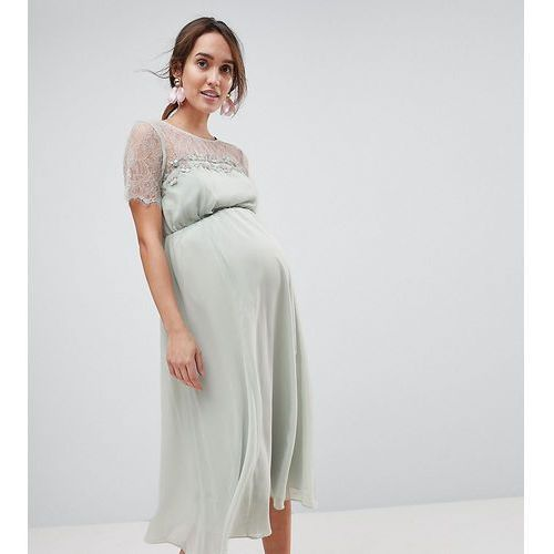 Asos maternity lace insert midi dress with floral embellished trim - green