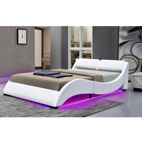 Łóżko tapicerowane do sypialni 180x200 texas led białe marki Meblemwm