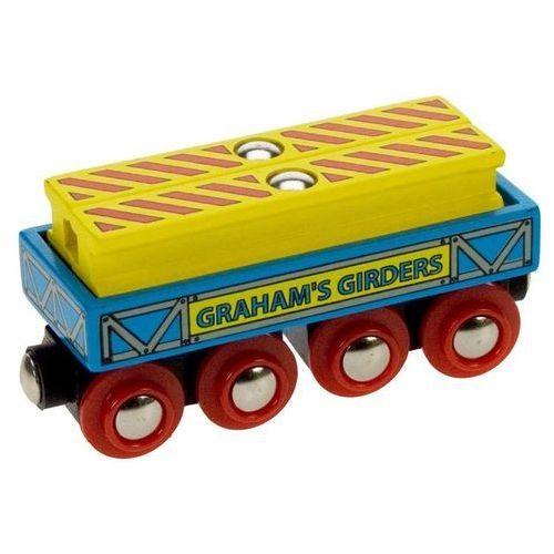 Bigjigs toys Wagon z belkami stalowymi do zabawy, wyposażenie kolejek drewnianych bigjigs