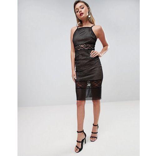 Asos design Asos lace & mesh mix midi pencil dress - black