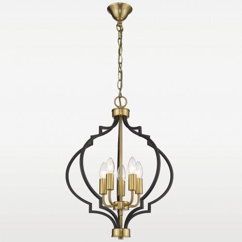 LAMPA wisząca EVO P05179BK AU świecznikowa OPRAWA metalowy ZWIS na łańcuchu czarny złoty, EVO P05179BK AU