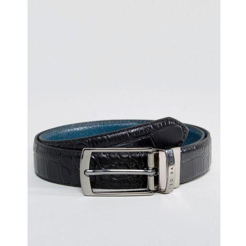 Ted Baker Sunflow Reversible Belt in Leather - Black