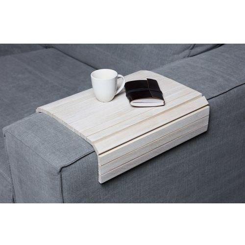 :: dębowa flexible xl podstawka na podłokietnik sofy - wybielona - drewniany ||biały marki Woood