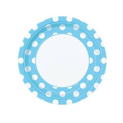 Unique Talerzyki urodzinowe błękitne w białe kropki - 23 cm - 8 szt.
