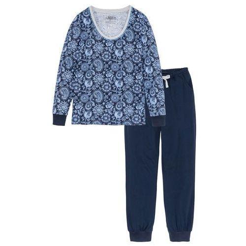 Piżama z długim rękawem bonprix ciemnoniebiesko-jasnoszary melanż z nadrukiem, w 2 rozmiarach