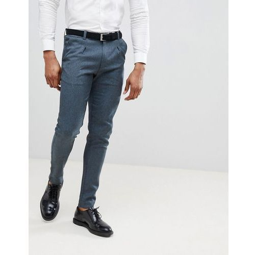 Boohooman slim fit suit trousers with drawstring in navy - navy