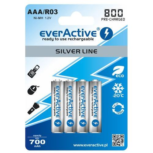 """4x everActive R03/AAA Ni-MH 800 mAh ready to use """"Silver line"""""""