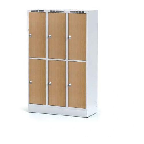 Szafka ubraniowa 6 drzwi, szeroka, na cokole, drzwi lpw, buk, zamek cylindryczny marki Alfa 3