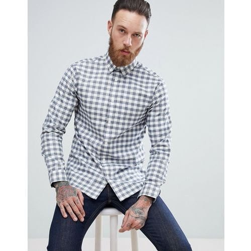 Selected Homme Regular Shirt In Gingham With Button Down Collar - Navy